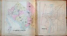 "ORIGINAL 1905 CUMBERLAND & BRIDGETON COUNTY NEW JERSEY ATLAS MAP 18.5"" x 32"""