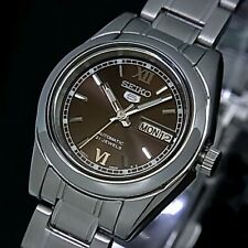 Seiko 5 Classic Ladies Size Brown Dial Stainless Steel Strap Watch