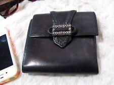 Brighton Leather Tri Fold Wallet Coin Purse Black Silver Detail