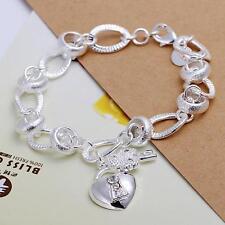 beautiful Fashion silver heart key crystal women Lady bracelet love jewelry