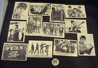 "12 Vintage 1960s ""The BEATLES"" Black & White Trading Cards W/ Pinback Button!"