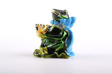 King Frog trinket box hand made by Keren Kopal with Austrian crystals Faberge