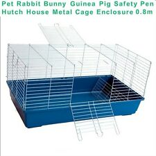 Pet Rabbit Bunny Guinea Pig Safety Hutch Shelter House Metal Cage Enclosure 0.8m