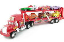 Cars 2 MACK TRUCK + 6 CARS Lightning McQueen 50cm x 15cm x8cm NUOVO