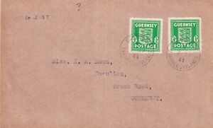 GUERNSEY WARTIME 7 APRIL 1941 1/2d EMERALD PAIR FIRST DAY COVER