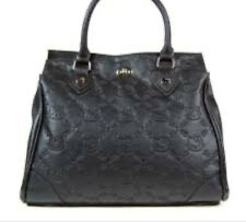 Hello Kitty Loungefly Embossed Large Satchel Bag Leather Purse Tote Black Rare