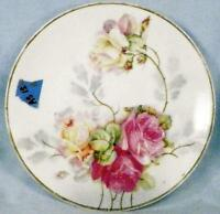 Thomas Sevres Bavaria Cabinet Plate Cabbage Roses Artist Sign Antique As Is Cond