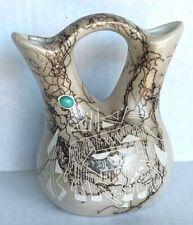 Vintage Horse Hair Pottery Wedding Vase Signed