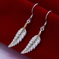 Earrings Beautiful Fashion Drop Dangle Ladies 925 Sterling Silver Feather Gift