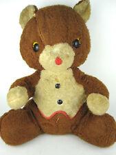 Vtg Wind Up Music Box Rare Qualitoy Plush Teddy Bear 2 Tone Pollytoys Hong Kong