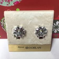 D'ORLAN VINTAGE SILVER FLOWER CLIP EARRINGS