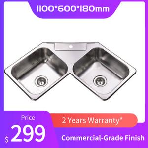 1100*600*180mm Stainless Steel Round Edge Corner Kitchen Sink Double Bowl 2 Bowl