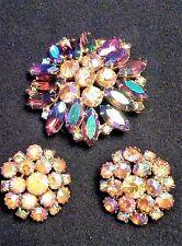 Vintage Brooch Earrings Set Iridescent Pink Aqua Purple Lrg Rhinestone Starburst