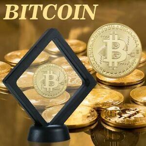 Classic Bitcoin Gold Plated Collectible Coins Display Stand Collection Birthday