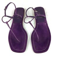 PRADA sandals thong flats flip flops purple suede patent leather 40 UK 6.5