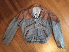 GUESS Georges Marciano VTG 80s Leather Denim Jean Jacket Marty McFly Small USA