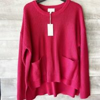 Melloday women's red long sleeve knit pocket front oversized pullover sweater L