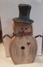 "PRIMITIVE COUNTRY SNOWMAN WINTER Folk Art hand painted Bird house standing 9"""
