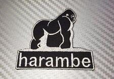 Embroidered Patch Iron Sew Logo HARAMBE GORILLA ape monkey zoo king kong