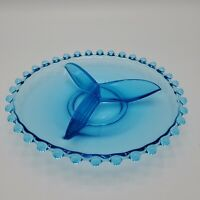 "Bohemian Blue Candlewick 3 Part Divided  7 1/4"" Plate Trinket Dish Vintage"
