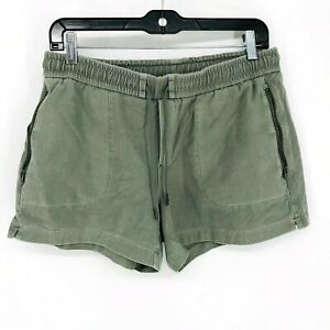 Athleta Cypress Green Farallon Shorts Women's Size 6 Cotton Drawstring Lounge