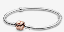 Authentic Pandora Moments Snake Chain Bracelet with Rose Gold Clasp - 19cm