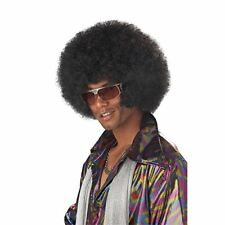 Afro Chops Wig Black 70's Disco Fancy Dress Up Halloween Adult Costume Accessory