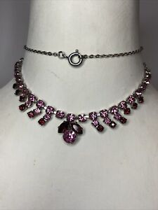 1950s Link Necklace Glass Paste Cabochons Bib Style Vintage Jewellery Jewelry