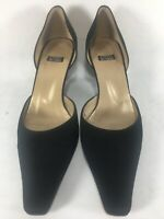 Stuart Weitzman Spain D'Orsay Pump Women's Sz 8 B Black Fabric Pointed Toe Heel