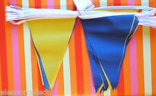 20m Blue and Yellow Triangle Bunting Rugby Football Sports School Business bnip