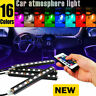 LED 9LED IR Remote Control Strip 4pcs Car Interior Atmosphere Neon Lights NEW