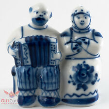 Gzhel porcelain Figurine Russian folk Peasants old couple w Garmon sit on bench