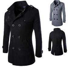 New Fashion Men's Wool Coat Winter Trench Coat Outwear Overcoat Long Jacket