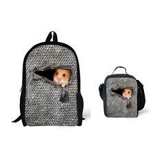 Gray Backpack College Kids School Bags Hamster Print Daypack Shoulder Lunchbags