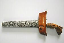 More details for antique malayan indonesia java carved hilt kris & chased silver scabbard rare