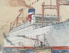 Munson Steamship Line Southern Cross Early Original Watercolor & Pencil Drawing