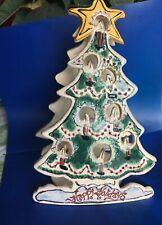"Blue Sky Heather Goldminic 'Happy Holiday"" Adorned Xmas Tree T-Lite house"