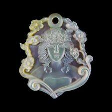 Carved Flower Nymph MOP & Gem Pendant Bead GE017018