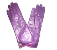 COACH Women's Cashmere Lined Leather Gloves PURPLE PLUM size 7 NWT NEW 82821
