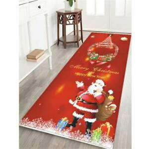 Christmas Home Santa Claus Rug Flannel Floor Door Mat Carpet Decorations BL