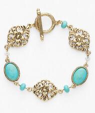 LAUREN Ralph Lauren 'Nigiri' Turquoise Bezel Gold-Tone Openwork Toggle Bracelet