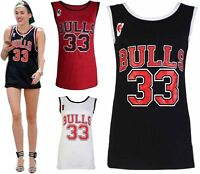 Womens Ladies Heat 6 Bulls 33 American Basketball Varsity Jersey Vest Top 8-14