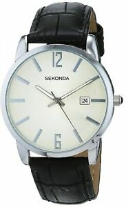 MENS SEKONDA WATCH TWO TONE SILVER DIAL DATE WINDOW BLACK CROC LEATHER STRAP