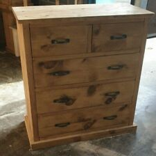 Solid Wood Rustic Reclaimed Style Chest of Drawers, Wooden Chest of Drawers