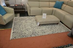 Large White Rug 160cm x 225cm Polypropylene White and Grey Circle Pattern Area