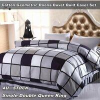 Cotton Geometric Duvet Doona Quilt Cover Set Single/Double/Queen/King Pillowcase