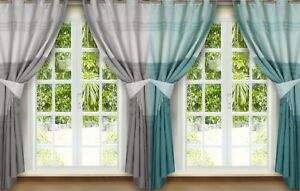 """EYELET CURTAINS 66"""" X 72"""" SILVER GREY CHARCOAL DUCK EGG FAUX SILK READY MADE"""