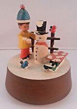 Vtg Anri Wooden Winter Figurines Christmas Holidays Rotating Music Box Italy