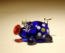 "Blown Glass Figurine ""Murano"" Art Animal Small Blue PIG with a Daisy Flower"