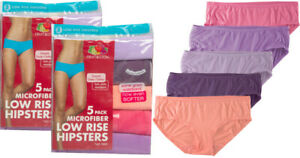 NEW Fruit of the Loom Women's Microfiber Low-Rise Hipster Panties 5 and 10 Pack